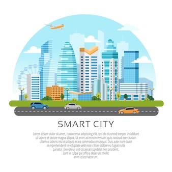 Круглый городской пейзаж со зданиями, небоскребами и транспортным потоком.