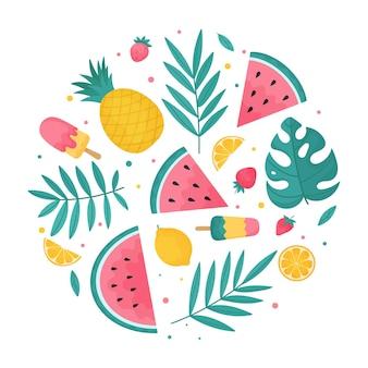 Круглая летняя композиция из тропических листьев, летних фруктов, арбузов и мороженого