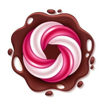 Round swirl candy on chocolate splash background.