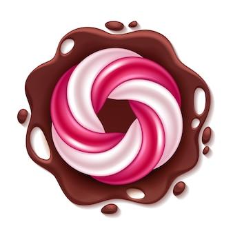 チョコレートのスプラッシュの背景に丸い渦巻きキャンディ。