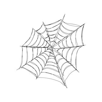 Круглая симметричная паутина, одна линия, рисунок непрерывной линии, тема хэллоуина