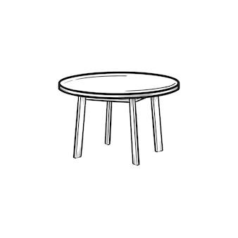 Круглый стол рисованной наброски каракули значок. журнальный столик вектор эскиз иллюстрации для печати, интернета, мобильных устройств и инфографики, изолированные на белом фоне.