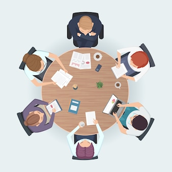 Round table top view. business people sitting meeting corporate workspace brainstorming working team illustration
