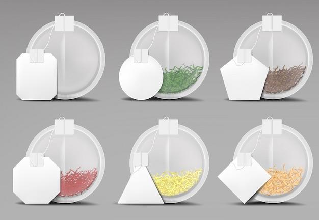 Bustine di tè rotonde messe isolate