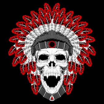 A round template for a tattoo with a human skull in an indian feather hat and abstract pattern.  element, print for t-shirts