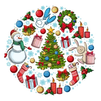 クリスマスのアイコンと丸いテンプレート