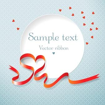 Круглое текстовое поле красная лента и сердечки векторная иллюстрация