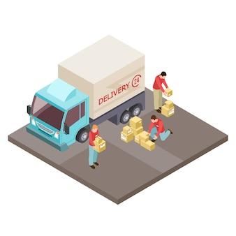 Круглосуточная служба доставки и грузчиков изометрической концепции