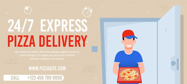 Round-the-clock express pizza delivery広告