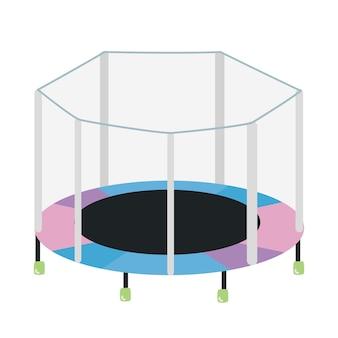 安全エンクロージャが分離された円形のトランポリン。子供の娯楽やスポーツの練習のためのフィットネス屋外装置