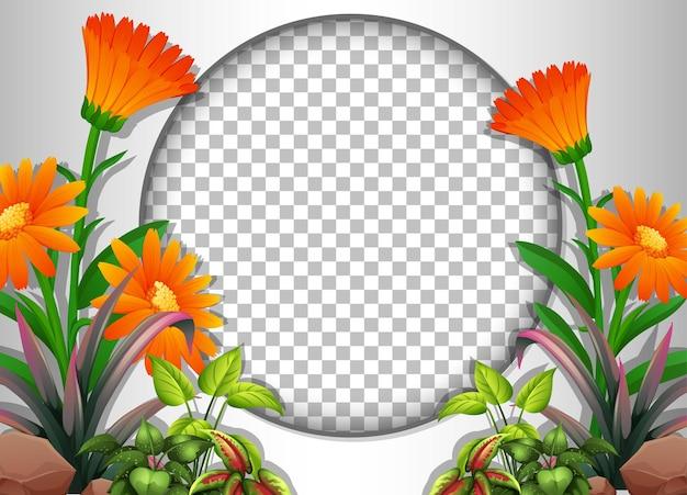 熱帯の花と葉のテンプレートと丸い透明なフレーム