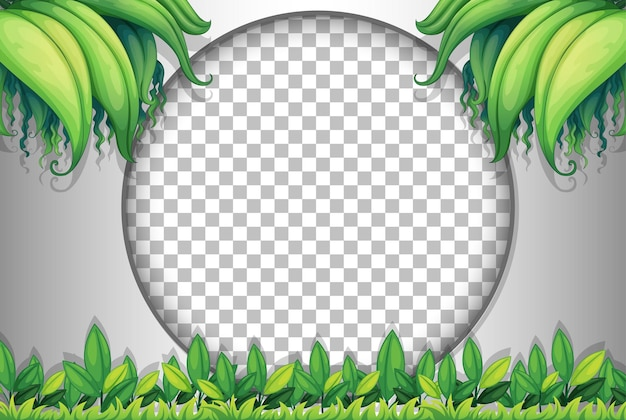 Round transparent frame with tropical leaves template