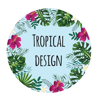 Round tropical frame, template with place for text.  illustration,  on white background.
