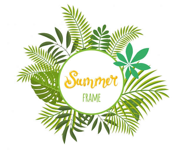 Round tropical frame, template with place for text.  illustration,  on white.