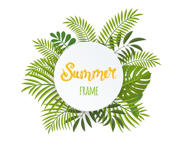 Round tropical frame, template with place for text.