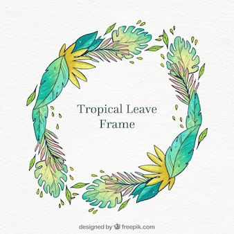 Round tropical leaves frame
