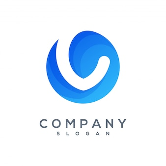 Round v wave logo ready to use
