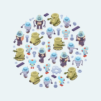 Round vector decorating design made of isometric robots