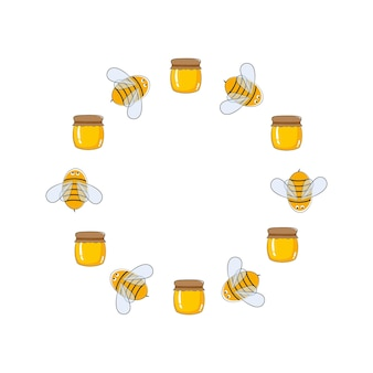 Round vector frame of bees and honey logo design for farms apiaries