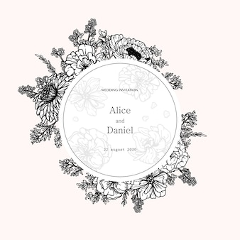 Round vector frame with flowers, herbs and botanical elements in hand drawn style