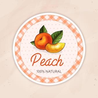 Round vintage jam label for a jar of peach confiture, jam or marmalade.