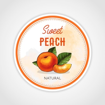 Round vintage jam lsticker for a jar of peach confiture, jam or marmalade.