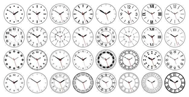 Round watch faces circle clock face with vintage roman and arabic numerals