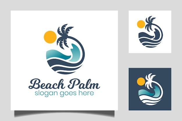 Круглая водная волна в океане, пляжная пальма дизайн логотипа с символом солнца для отпуска, отдыха, летний значок вектора