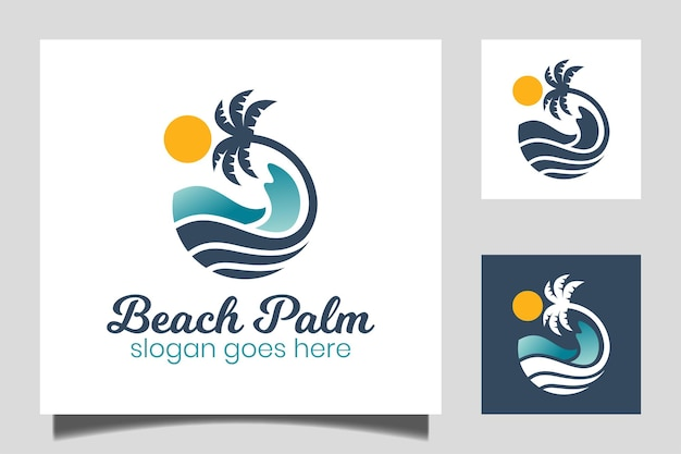 Round water wave in ocean, beach palm tree logo design with sun symbol for vacation, holiday, summer icon vector