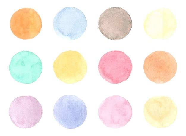 라운드 수채화 배지 흰색 절연
