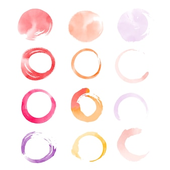 Round watercolor elements vector