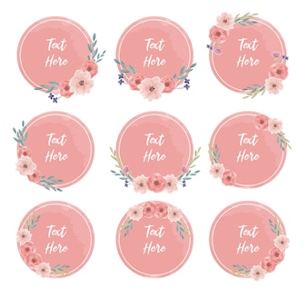 Round watercolor floral frame text banner collection