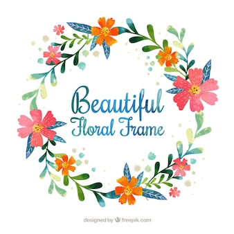 Round watercolor floral frame