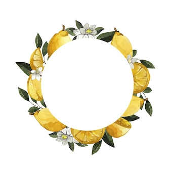 Round watercolor frame with lemons and flowers
