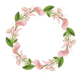 라이트 핑크와 꽃 라운드 수채화 화환