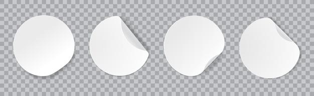 둥근 모서리가 있는 둥근 흰색 접착 스티커 벡터 이랑