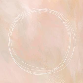 Cornice rotonda bianca su sfondo arancione pastello vettore