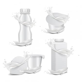 우유의 스플래시와 라운드 흰색 광택 냄비와 플라스틱 병. 유제품 요구르트, 크림, 디저트 또는 잼. 벡터 현실적인 포장 템플릿