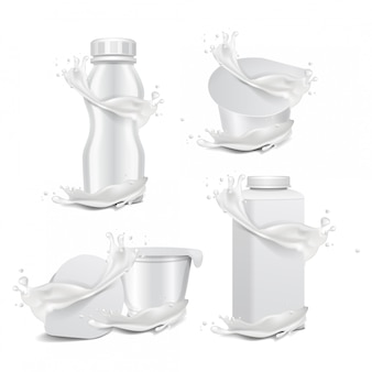 Round white gloss pot and plastic bottle with splash of milk. for dairy products yogurt, cream, dessert or jam. vector realistic packaging  template