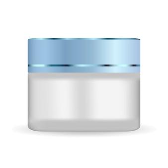 플라스틱 뚜껑이 달린 둥근 흰색 무광택 유리 용기