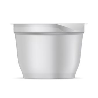 Round white matte plastic pot for yogurt