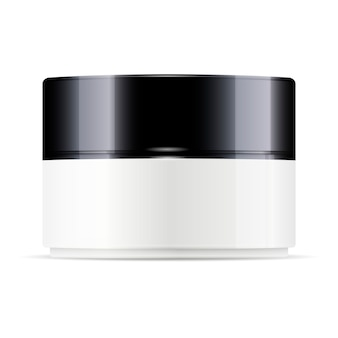 Round white plastic jar with black glossy lid