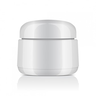 Round white plastic jar with lid for cosmetics. balm, creme, gel, ointment.   template
