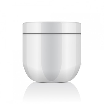 Round white plastic jar with lid for cosmetics. creme, gel, ointment, balm.   template