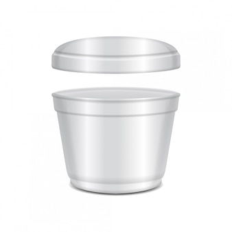 Round white plastic open container with cap. soup bowl or for dairy products, yogurt, cream, dessert, jam.  packaging  template