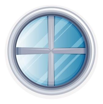 白く塗られた正円窓