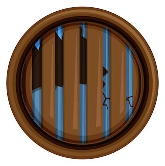 Круглое окно с битым стеклом