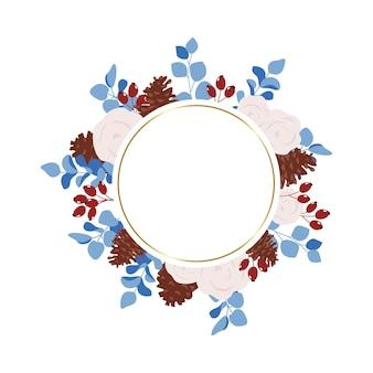 Round winter floral frame
