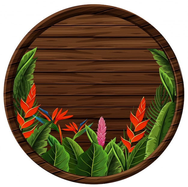 Round wooden board with flowers frame
