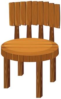Round wooden chair on white